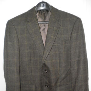 Jos A Bank Mens 38R Brown Plaid Suit Jacket Blazer